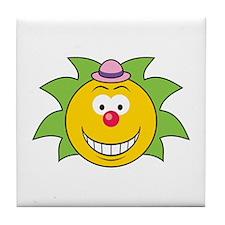 Green Hair Smiley Face Clown Tile Coaster