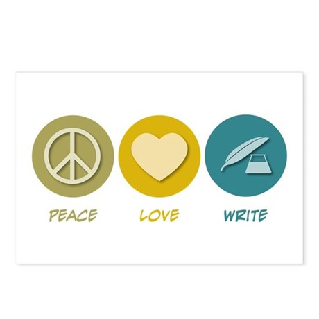 Peace Love Write Postcards (Package of 8)