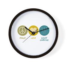 Peace Love Wood Carving Wall Clock
