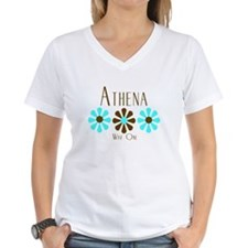 Athena - Blue/Brown Flowers Shirt