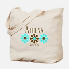 Athena - Blue/Brown Flowers Tote Bag