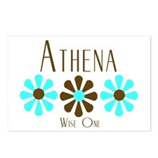 Athena - Blue/Brown Flowers Postcards (Package of