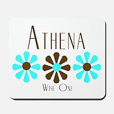 Athena - Blue/Brown Flowers Mousepad