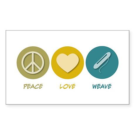 Peace Love Weave Rectangle Sticker