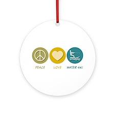 Peace Love Water Ski Ornament (Round)