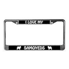 I Love My Samoyeds (PLURAL) License Plate Frame