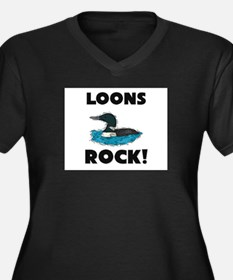 Loons Rock! Women's Plus Size V-Neck Dark T-Shirt