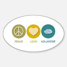 Peace Love Volunteer Oval Decal