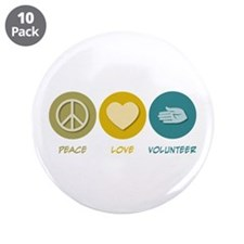 """Peace Love Volunteer 3.5"""" Button (10 pack)"""