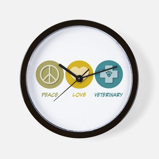 Peace Love Veterinary Wall Clock