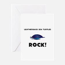 Leatherback Sea Turtles Rock! Greeting Cards (Pk o