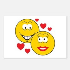 Smiley Faces in Love Postcards (Package of 8)