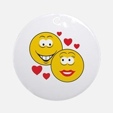 Smiley Faces in Love Ornament (Round)