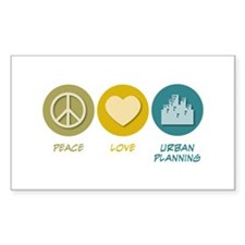 Peace Love Urban Planning Rectangle Decal