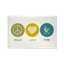 Peace Love Type Rectangle Magnet