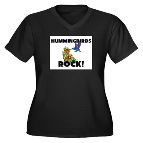Hummingbirds Rock! Women's Plus Size V-Neck Dark T