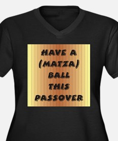 """Matza"" Ball Women's Plus Size V-Neck Dark T-Shirt"