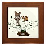 Cat Fish Bowl Framed Tile
