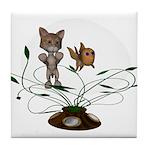 Cat Fish Bowl Tile Coaster