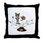 Cat Fish Bowl Throw Pillow
