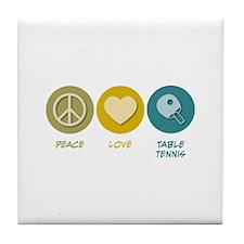 Peace Love Table Tennis Tile Coaster