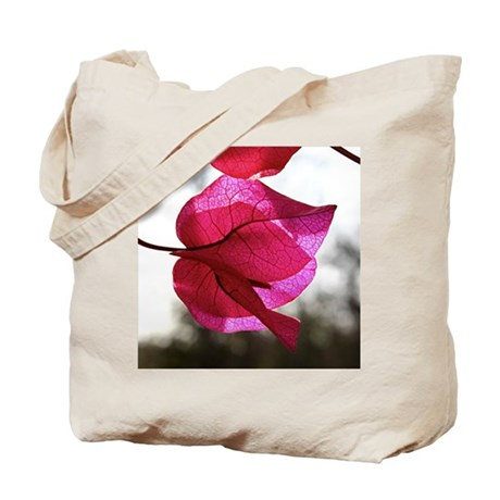 See Through Pink Leaf Tote Bag