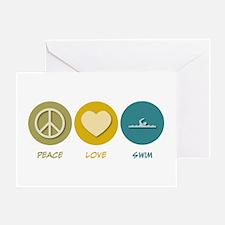 Peace Love Swim Greeting Card