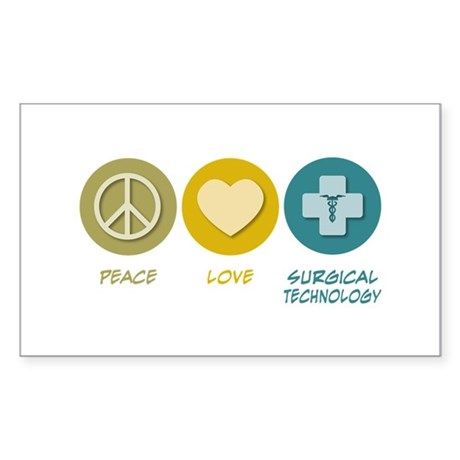 Peace Love Surgical Technology Rectangle Sticker