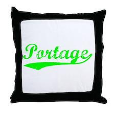Vintage Portage (Green) Throw Pillow