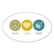 Peace Love Study Oval Decal