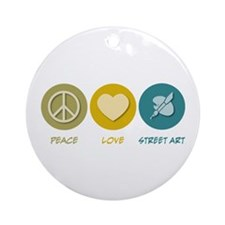 Peace Love Street Art Ornament (Round)