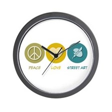 Peace Love Street Art Wall Clock