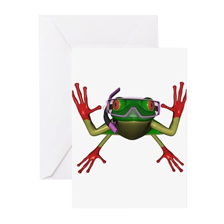 Snorkel Frog Greeting Cards (Pk of 20)