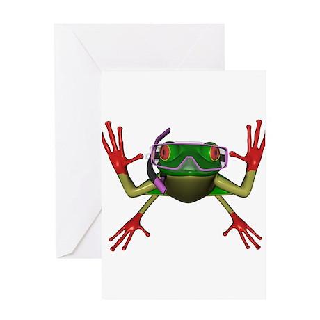 Snorkel Frog Greeting Card