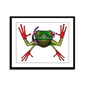 Snorkel Frog Framed Panel Print