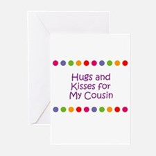 Hugs and Kisses for My Cousin Greeting Cards (Pk o