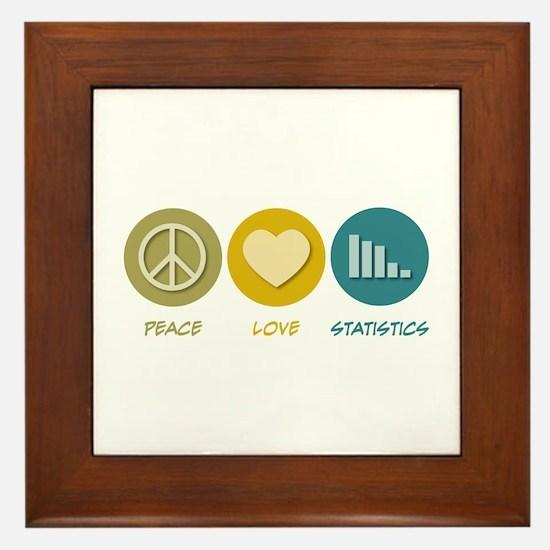 Peace Love Statistics Framed Tile