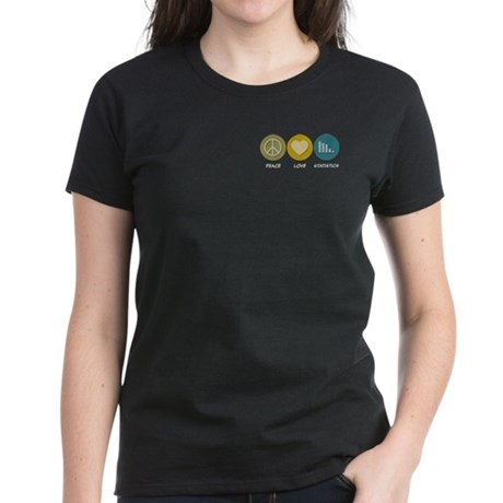 Peace Love Statistics Women's Dark T-Shirt