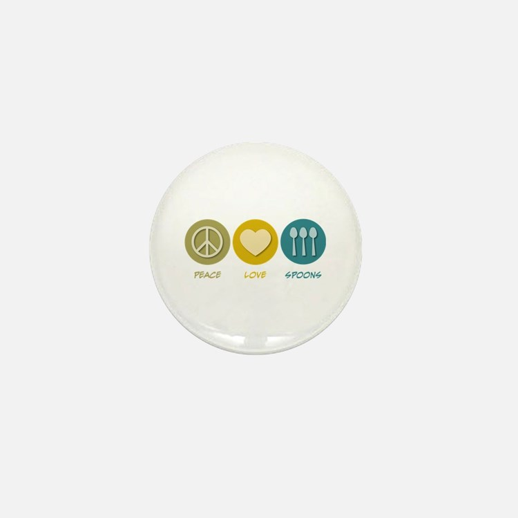 Peace Love Spoons Mini Button
