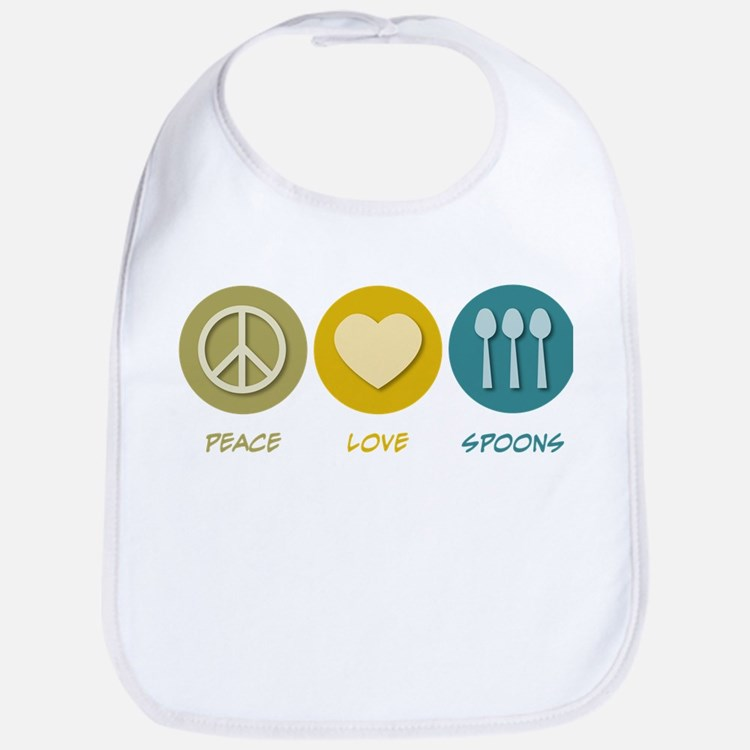 Peace Love Spoons Bib