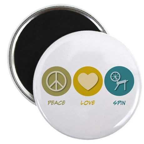 """Peace Love Spin 2.25"""" Magnet (100 pack)"""