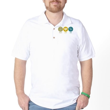 Peace Love Spin Golf Shirt