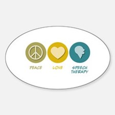 Peace Love Speech Therapy Oval Decal