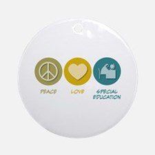 Peace Love Special Education Ornament (Round)