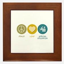 Peace Love Special Education Framed Tile
