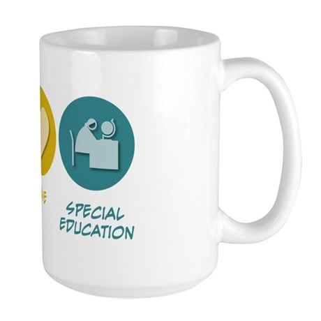 Peace Love Special Education Large Mug