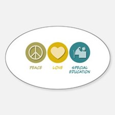 Peace Love Special Education Oval Decal
