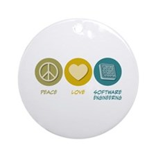 Peace Love Software Engineering Ornament (Round)