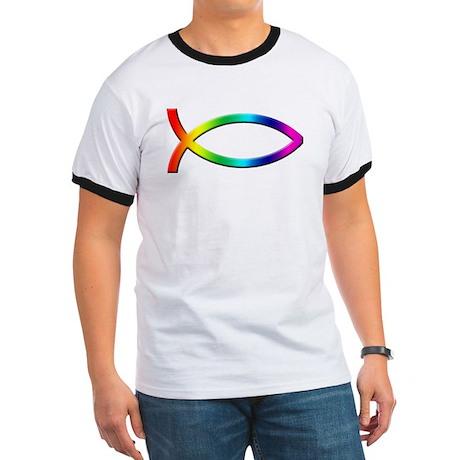 Rainbow Christian Fish Ringer T