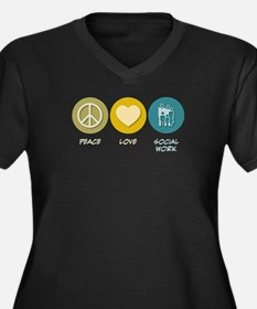 Peace Love Social Work Women's Plus Size V-Neck Da